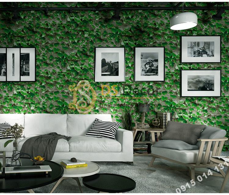 Giấy dán tường 3D giả lá cây retro cho nhà hàng quán ăn nhanh 3D206-113