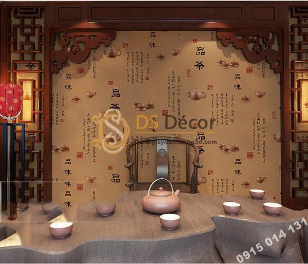 Giấy Dán Tường Ấm Trà Thư Pháp Trung Quốc 3D096
