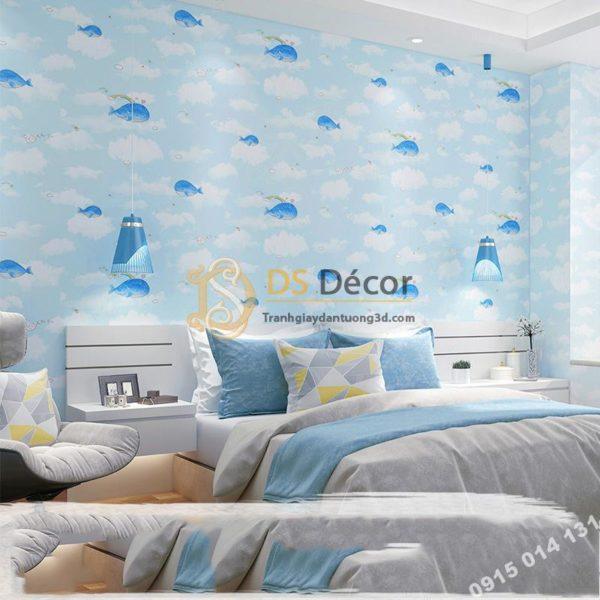 Giấy Dán Tường Cá Heo Dolphin và Mây Phòng Trẻ Em 3D134