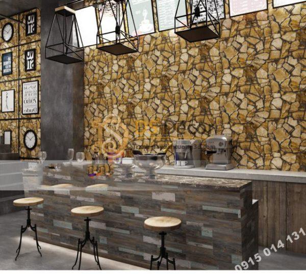 Giấy Dán Tường Giả Đá Pattern Cho Quán Cafe, Trà Sữa 3D127
