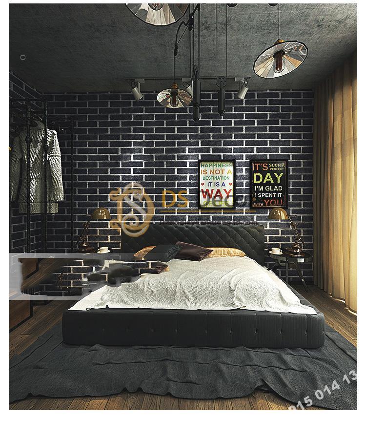 Giấy dán tường giả gạch đen 3D191 trang trí studio chụp ảnh