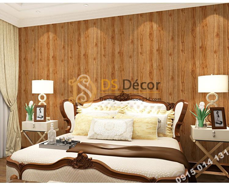 Giấy dán tường vân gỗ 3D190 trang trí phòng ngủ