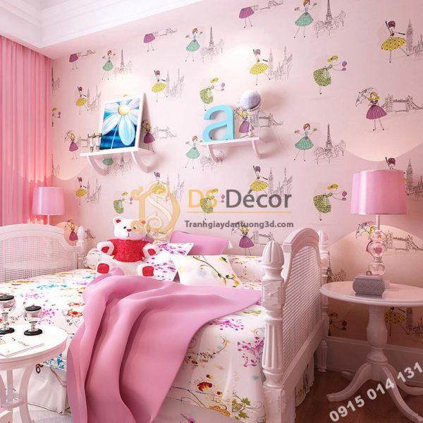 Giấy Dán Tường Họa Tiết Công Chúa Phòng Ngủ Trẻ Em 3D137