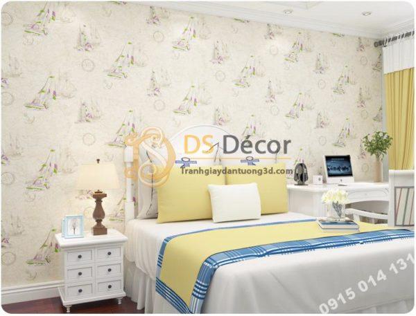 Giấy Dán Tường Họa Tiết Thuyền Buồm Phòng Ngủ Trẻ Em 3D144