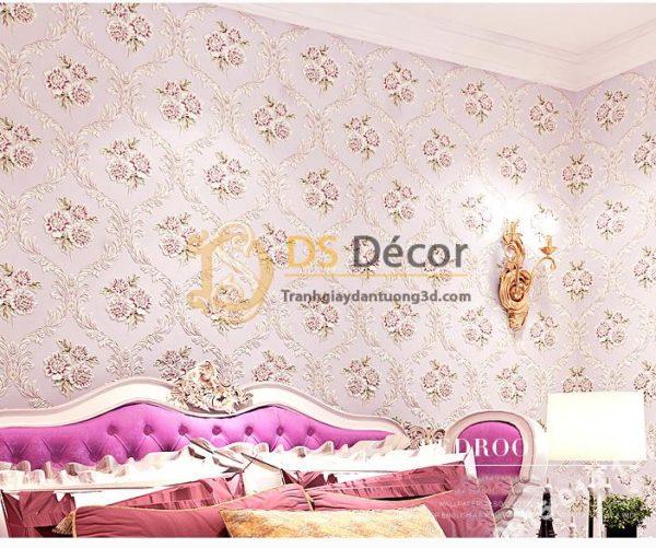Giấy Dán Tường Phòng Ngủ Họa Tiết Hoa Lãng Mạn 3D114