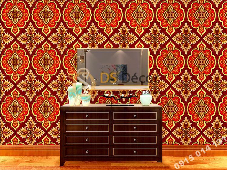 Giấy dán tường phòng thờ hoa cổ điển màu cam 3D197
