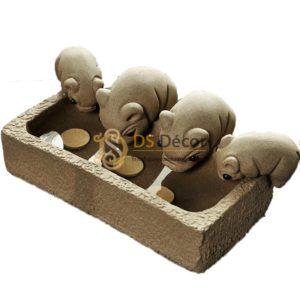 Đồ Trang Trí Đàn Lợn Con Ăn Cám Trong Máng Cute DTT02
