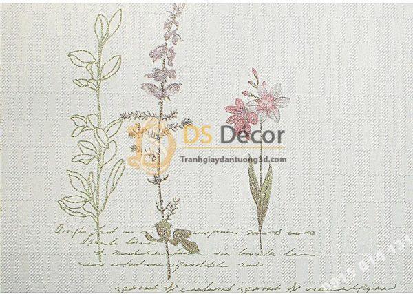Giấy Dán Tường Vườn Hoa và Chữ 3D155