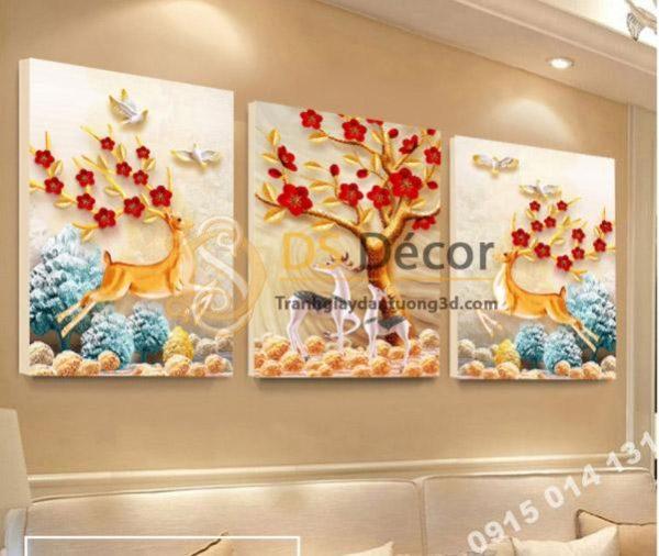 Tranh Treo Tường Phòng Khách Con Nai 3D Loại 3 Bức TT3D02