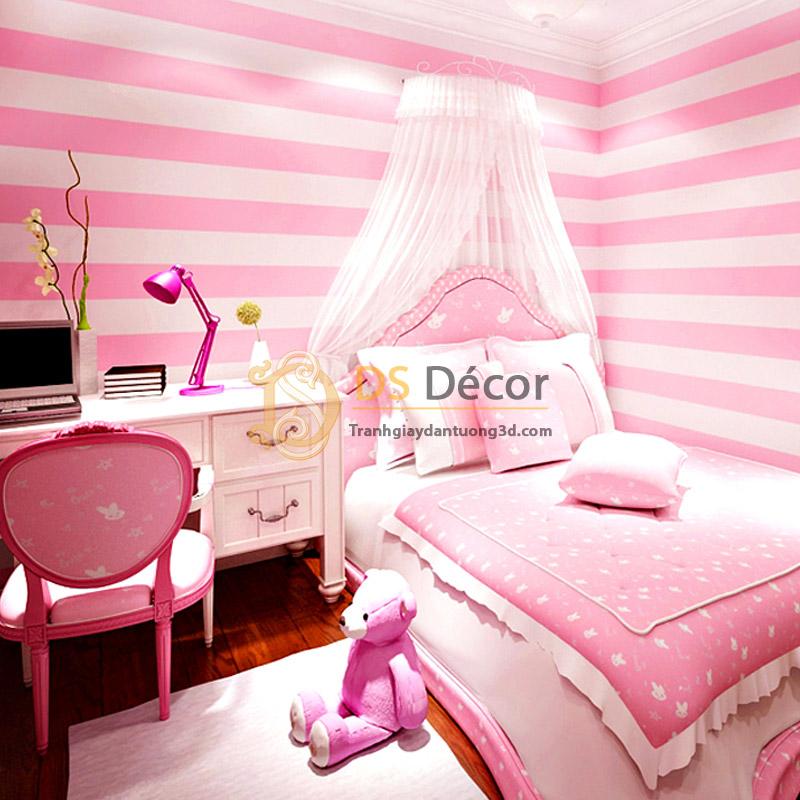 Giấy Dán Tường Sọc Hồng Hello Kitty 3d062 đại Sơn Decor