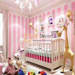 Giấy Dán Tường Sọc Hồng Hello Kitty - 3D062