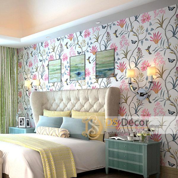 Giấy Dán Tường Họa Tiết Vườn Hoa Và Chim 3D057