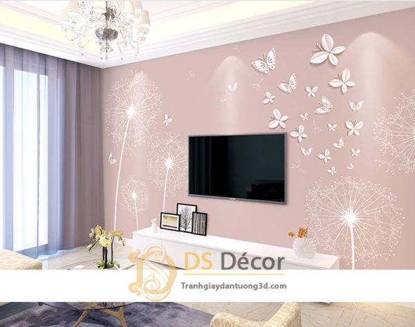 Tranh Dán Tường 3D|5D Hoa Bồ Công Anh và Bướm - 5D008