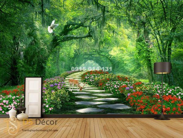 Tranh dán tường phong cảnh con đường rừng cây - 5D004