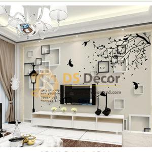 Tranh Dán Tường 3D|5D Họa Tiết Ô Vuông và Chim phong cách Hàn Quốc - 5D006