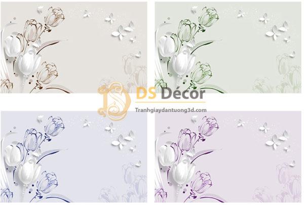 Tranh Dán Tường 5D Họa Tiết Hoa và Bướm - 5D007