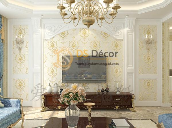 Giấy Dán Tường 3D Hoa Dập Nổi Kiểu Mỹ Damascus - 3D029