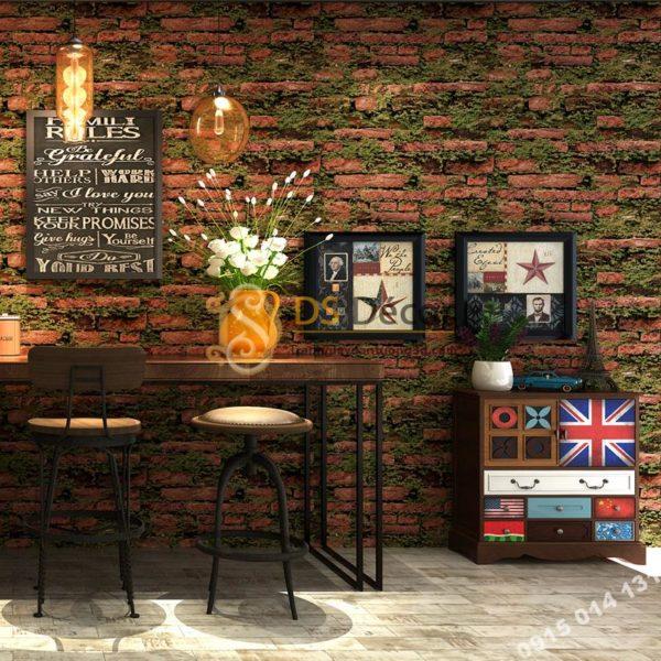 Giấy Dán Tường Gạch Đỏ Mọc Rêu 3D210