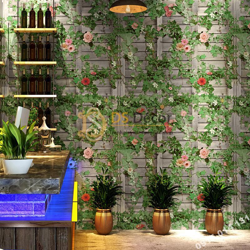 Giấy Dán Tường Hoa Leo Tường Gỗ Quán Ăn Cafe 3D213