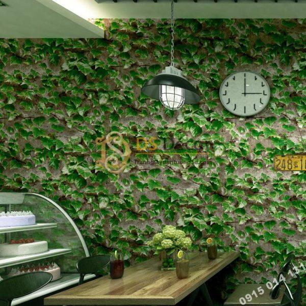 Giấy Dán Tường 3D Giả Lá Cây Retro Cho Nhà Hàng Quán Ăn Nhanh 3D206