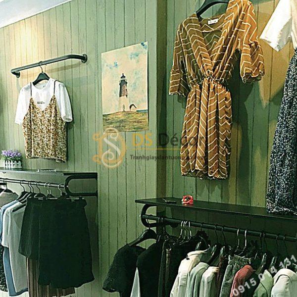 Giấy Dán Tường Giả Gỗ Xanh Lục Cho Shop Quần Áo 3D181