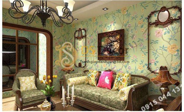 Giấy Dán Tường Họa Tiết Chim Chào Mào Trong Vườn Hoa 3D226