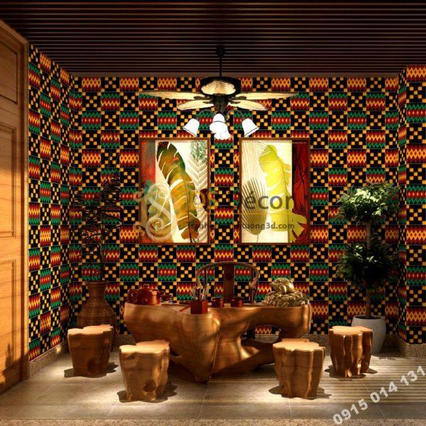 Giấy dán tường giả lá cây retro ivy cho nhà hàng 3D125