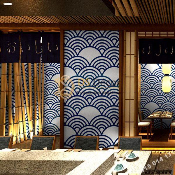 Giấy Dán Tường Phong Cách Nhật Bản Sóng Biển 3D214