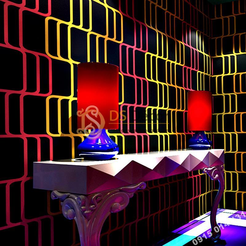 Giấy Dán Tường Sọc Vàng Hồng Cho Quán Bar Hộp Đêm 3D215