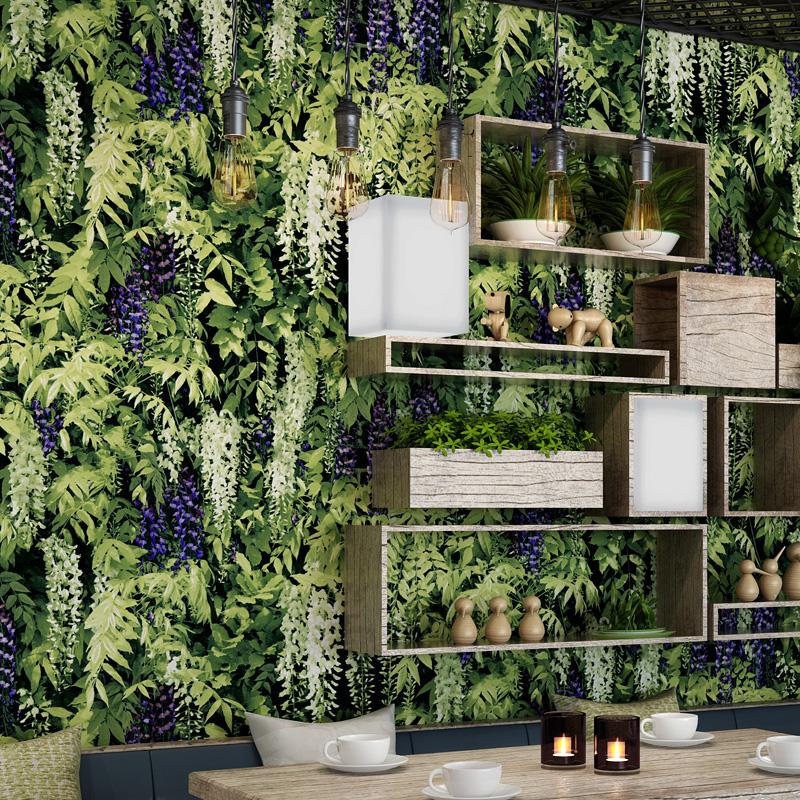 Giấy dán tường giả lá cây ivy retro độc đáo cho nhà hàng 3D125
