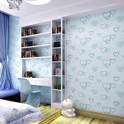 Giấy dán tường trái tim lãng mạn 3D286 màu xanh phòng học làm việc