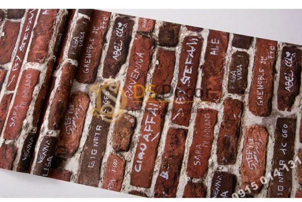 Giấy dán tường giả gạch có chữ 3D287