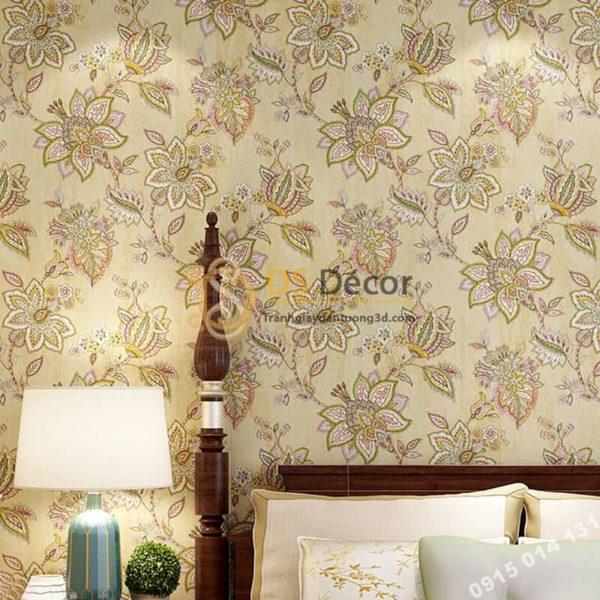 Giấy dán tường cổ điển hoa mộc mạc 3D279
