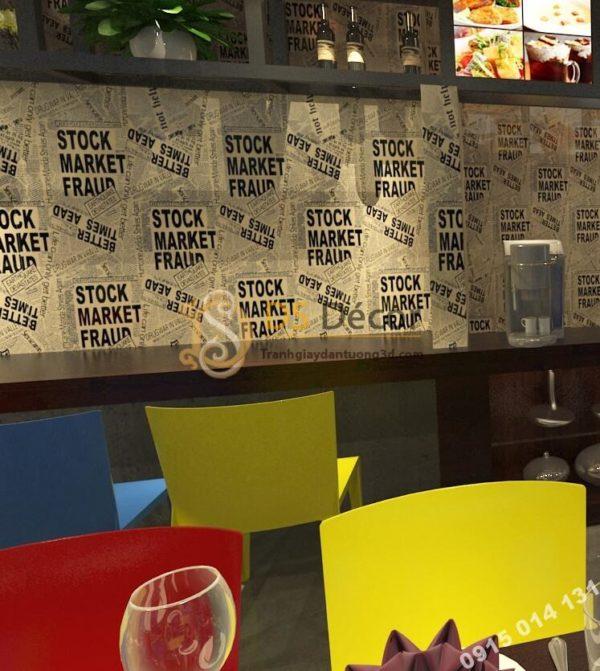 Giấy dán tường giả báo tường trắng đen cho shop thời trang 3D293