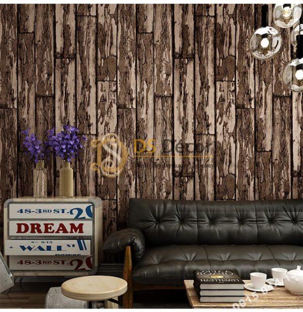 Giấy dán tường giả gỗ rêu phong mộc mạc 3D289