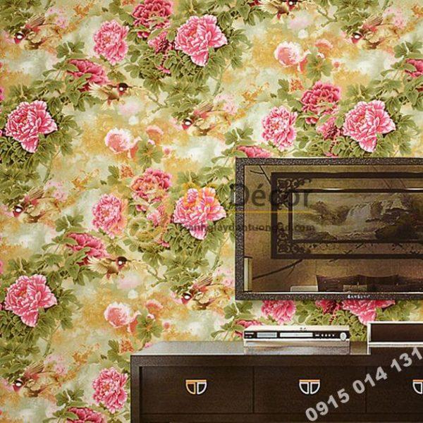 Giấy dán tường hoa hồng lớn 3D291