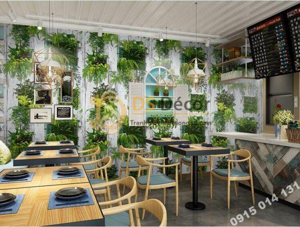 Giấy dán tường lá cây trên nền gỗ mục 3D311