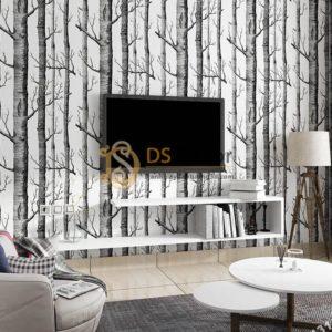 Giấy dán tường thân gỗ đen 3D312