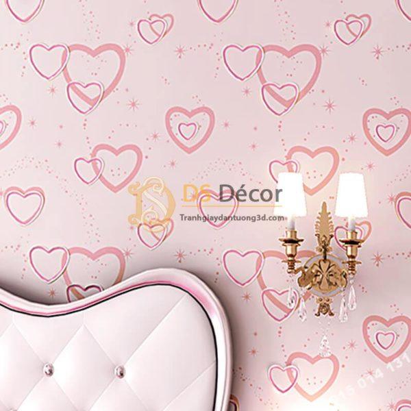 💗 Giấy dán tường trái tim lãng mạn 3D286