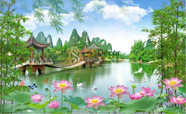 Tranh dán tường 3D - Tranh phong cảnh ao sen cây cầu 5D014