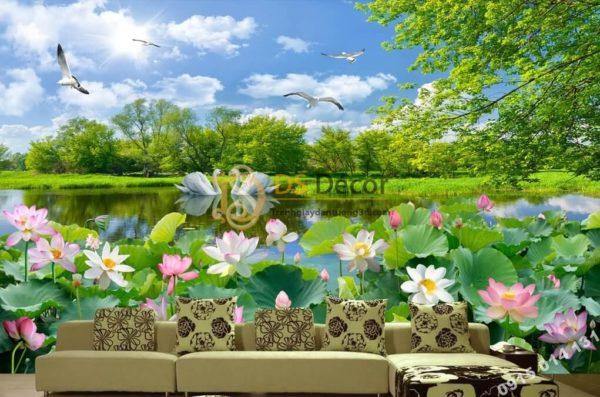Tranh dán tường 3D - Tranh phong cảnh hồ sen 5D012
