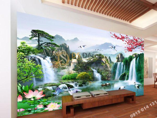 Tranh dán tường 3D - Tranh phong cảnh thác nước sơn thủy hữu tình 5D015