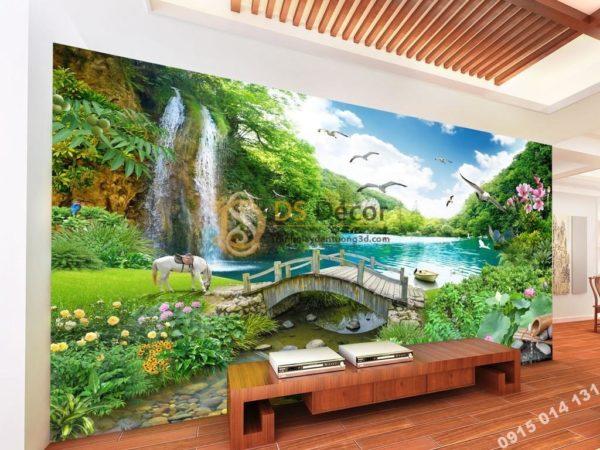 Tranh dán tường 3D - Tranh thác nước cây cầu thần tiên 5D013